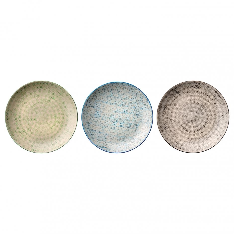 Assiette isabella gris vert bleu arts de la table for Assiette bloomingville